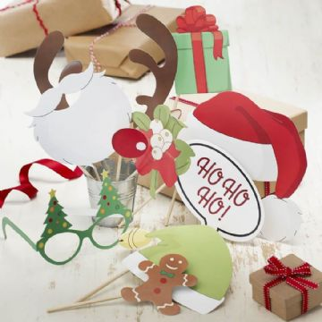 Vintage Festive Photo Booth Kit - pack of 10 Party Photo Props